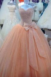 puffy,peach,pink dress,bow,glitter,prom dress,formal dress,chiffon,dress,pale pink prom dress with bow