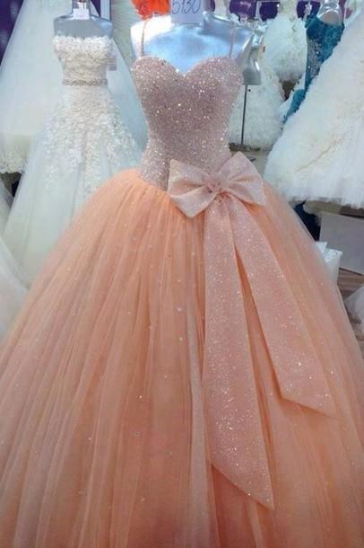 puffy peach pink dress bow glitter prom dress formal dress chiffon dress pale pink prom dress with bow