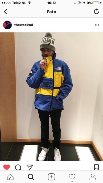 jacket the north face jacket blue yellow