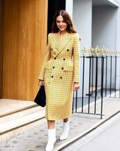 coat,midi dress,checkered,double breasted,ankle boots,white boots,handbag,long coat,plaid,yellow coat,heel boots,black bag,balenciaga