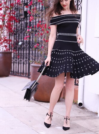 inspades blogger dress bag shoes black dress ysl bag pumps