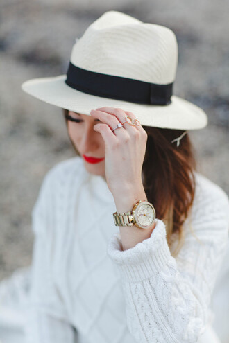 vickys style blogger hat fedora white sweater winter sweater sweater bag jewels sunglasses