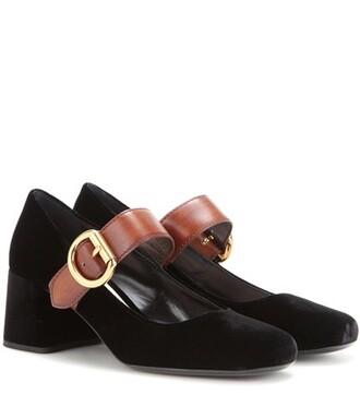 pumps leather velvet black shoes