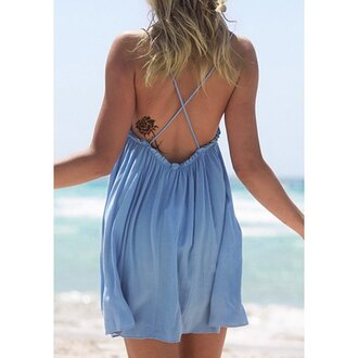 dress blue summer cute trendy fashion open back rose wholesale-ma