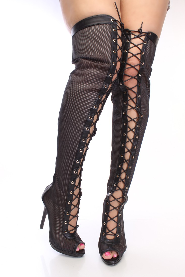 black lace up thigh high boots mesh
