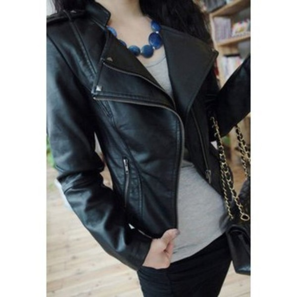 jacket black leather coat long sleeves streetstyle punk leather jacket believe