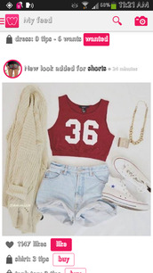 shirt,jacket,cream,cardigan,t-shirt,shorts,sweater,jewels,top,red,white,number,tank top,light washed denim,red shirt,shoes,cardigan blanc cass?