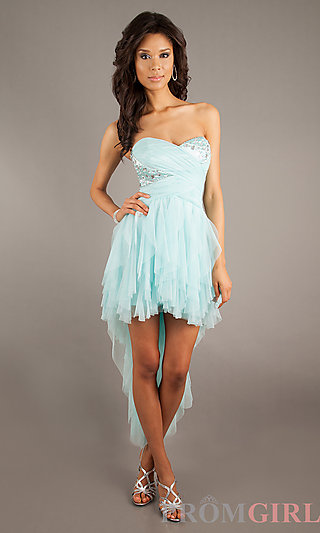 High Low Party Dress, High Low Strapless Prom Dresses- PromGirl