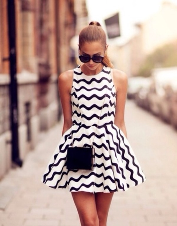 dress black white black and white dress white dress striped dress nice dress casual dress summer dress