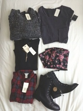 black combat boots,plaid,sweater,blouse,pants,collection,grey sweater,dark,comfy,flowers,jeans,boots,black shoes,skirt,girly,tumblr girl,girl,shirt,flannel,red,blue,vintage,black shirt,combat boots,floral skater skirt,grey,jacket,fluffy,cool,pastel goth,floral,grunge,flannel shirt,leggings,flower trousers,indie,scene,hipster,outfit idea,shoes