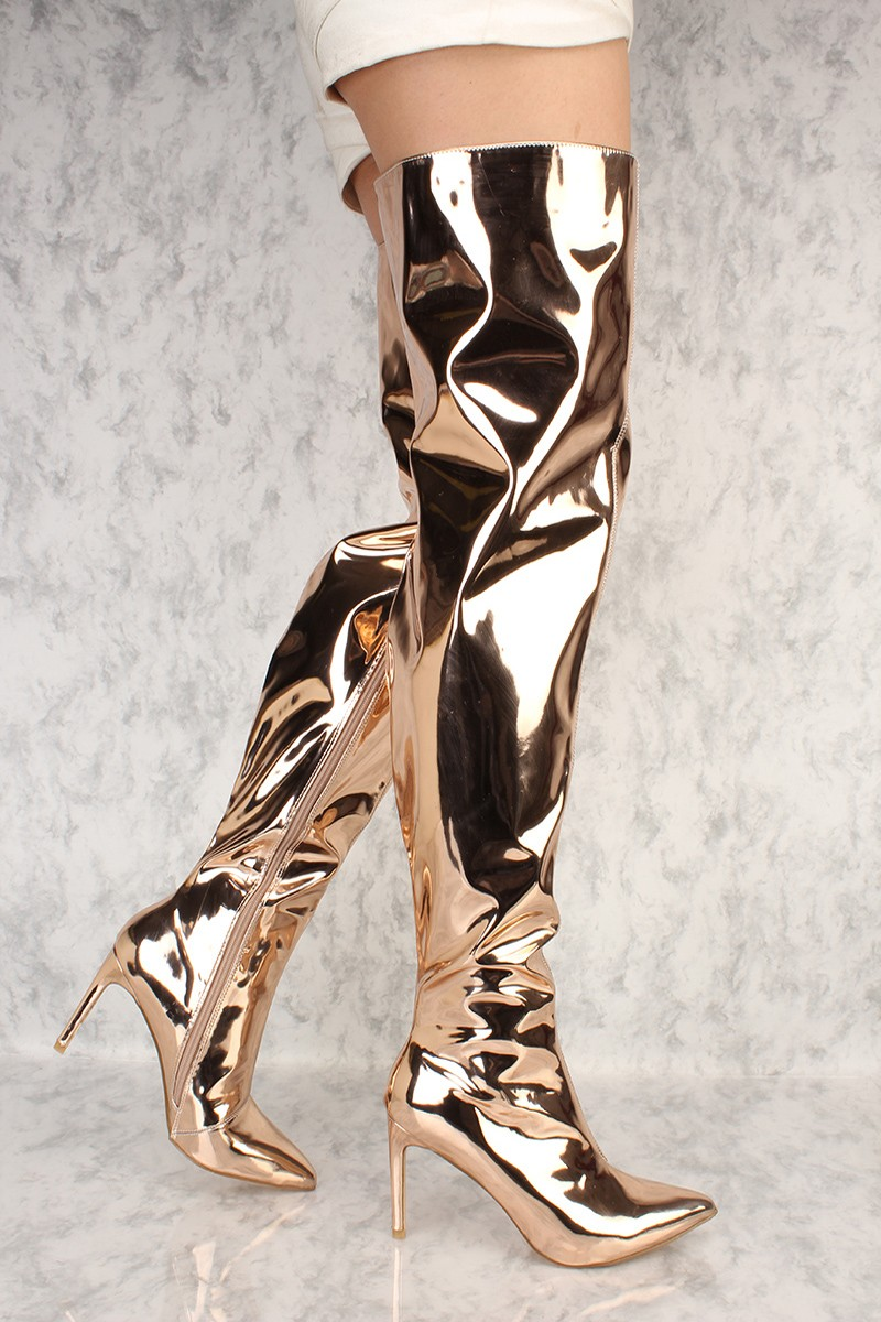 rose gold chrome flared pointy toe thigh high heel boots. Black Bedroom Furniture Sets. Home Design Ideas