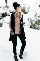 sweater,tumblr,beige sweater,turtleneck,turtleneck sweater,scarf,black beanie,beanie,pom pom beanie,gloves,leather gloves,pants,black pants,boots,black boots,sunglasses