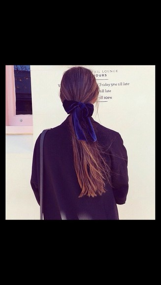 hair bow hair accessories velvet blue