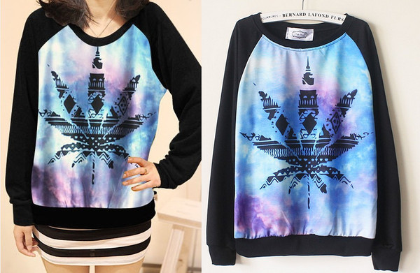 sweater marijuana galaxy print weed sweater