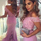 Lilac chiffon lace sweetheart mermaid long prom dresses, bridesmaid dress - 24prom