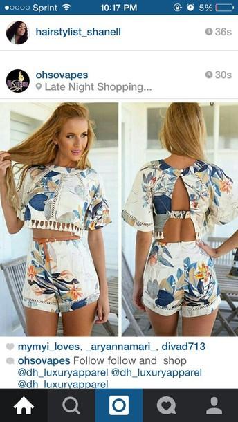 shorts floral High waisted shorts crop tops summer shorts fringes pants
