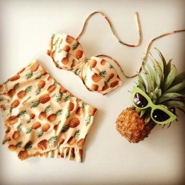 swimwear pineapple sunglasses green high waisted bikini pineapple bikini pineapple swimsuit pineapple print pinapples swimwear summer fruits pink swimwear
