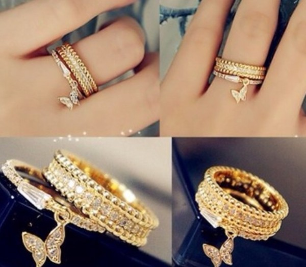 jewels ring butterfly gold cute