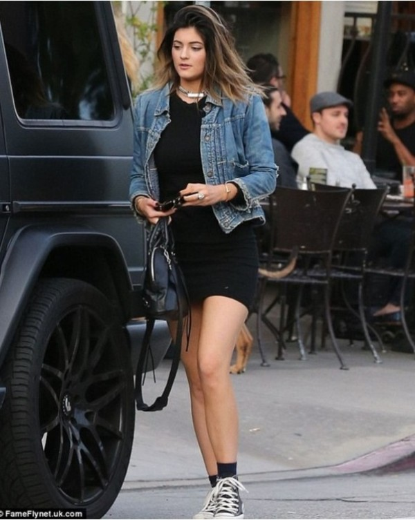 jacket kylie jenner denim jacket converse black little black dress dress