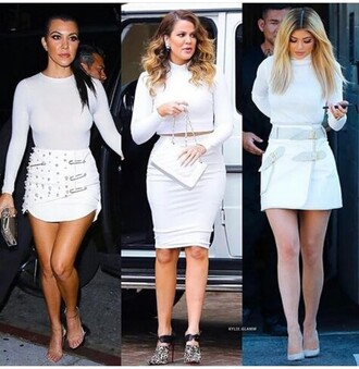 skirt mini skirt pencil skirt white skirt high waisted skirt clubwear top white top summer top cute top crop tops white crop tops long sleeves long sleeve crop top outfit outfit idea summer outfits cute outfits spring outfits date outfit party outfits kardashians khloe kardashian kourtney kardashian keeping up with the kardashians kylie jenner pointed toe pumps pointed toe heels high heels cute high heels white shoes white heels 5 inch and up shoes sexy shoes cute shoes cute skirt party shoes clutch bag purse handbag