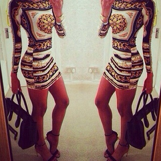 dress mirror print printed dress long sleeves long sleeve dress tight bodycon dress clubwear
