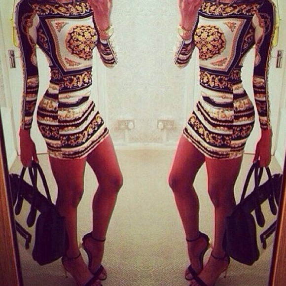 dress printed dress print tight dress mirror long sleeve long sleeve dress tight clubbing