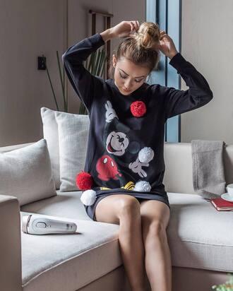 dress bun tumblr sweater dress pom poms mickey mouse disney hairstyles long sleeves long sleeve dress