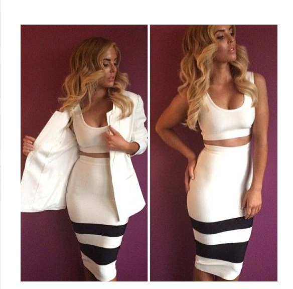 'ATHEA' TWO PIECE BANDAGE DRESS- WHITE