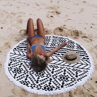 scarf round beach towel beach towel aztec printed towel round towel swimwear two piece swimwear bikini blue bikini blue swimwear crochet bikini hat beach summer