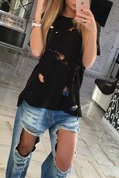 t-shirt,ripped,shirt,blouse,top,torn,yeezy,yeezus,black,white,ripped jeans