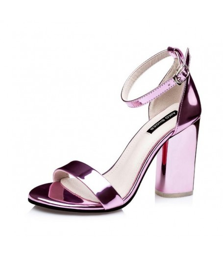 0a4c011377a Metallic Pink Ankle Strap Block Heel Sandals