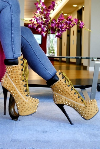 shoes booty heels spikes timberland coat