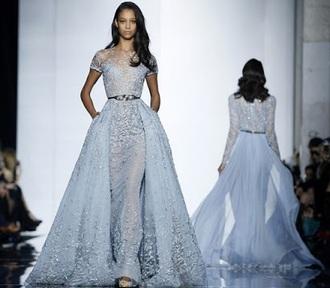 dress prom dress light blue lace sequins long dress