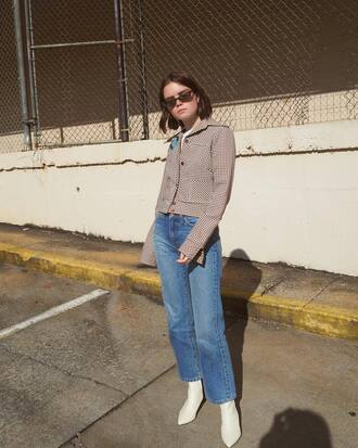 jeans tumblr blue jeans mom jeans jacket grey jacket boots white boots sunglasses