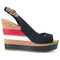 Tommy hilfiger - striped wedged sandals - women - cork/leather/tactel/rubber - 38, blue, cork/leather/tactel/rubber