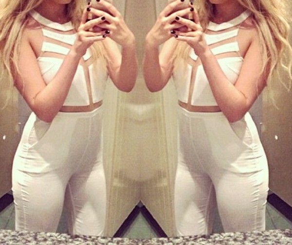 shorts jumpsuit white mesh shirt