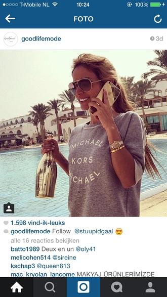 shirt clothes top phone watch girl michael subglasses fashion michael kors