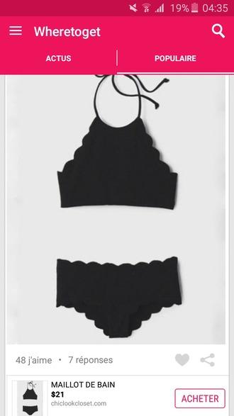 swimwear noir taille haute two-piece waves rectangle bra bikini