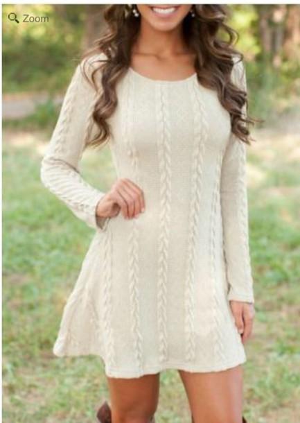 47990703194e dress white knit sweater mini skater dress cream dress white dress sweater  dress