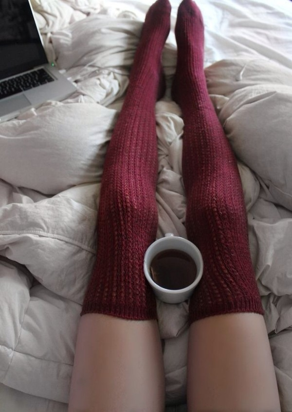 underwear knee high socks burgundy knitwear knee high socks