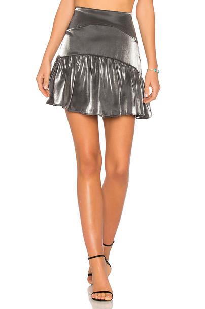 karina grimaldi skirt metallic silver