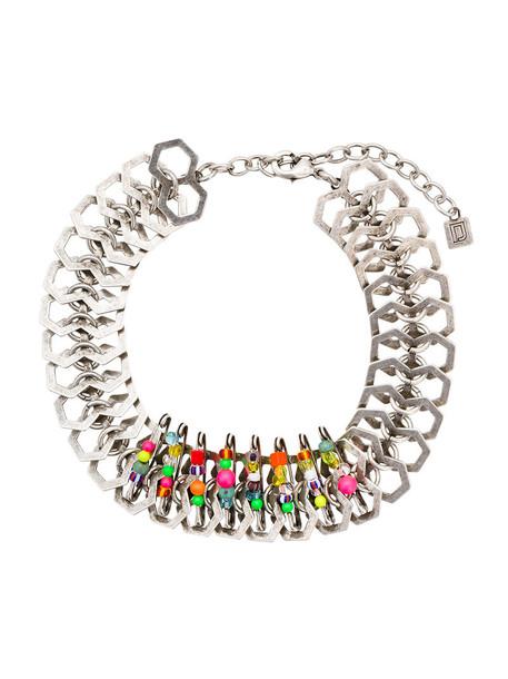 women beaded silver grey metallic jewels