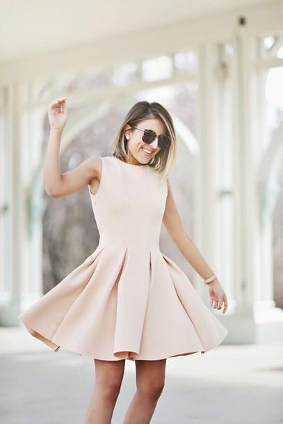 Dress: wedding guest dress, fit and flare dress, nude dress ...