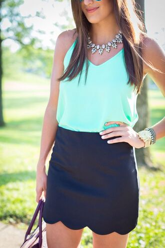 skirt mini skirt scalloped black skirt top blue top summer top summer outfits statement necklace necklace gold watch watch scalloped skirt