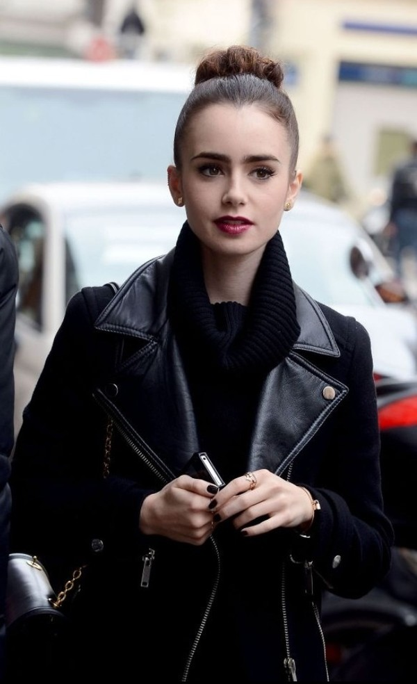 jacket black leather lily collins tumblr sweater coat