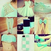 dress,drees,swimwear,shoes,jeans,jewels,nail polish,sweater,mint,tank top,spiked,blue,nike free run,vert d'eau,blue dress,cute dress,sky blue prom dresses,hair accessory,mint green bow,mint green nail polish,mint dress,mint green shoes,mint green jeans,mint green pumps