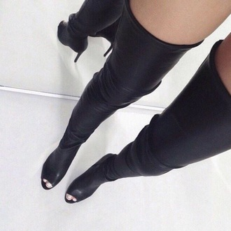 shoes thigh highs black leather wedges open toes open toes sandal boots boots boots black boots high heels fashion style cute high heels