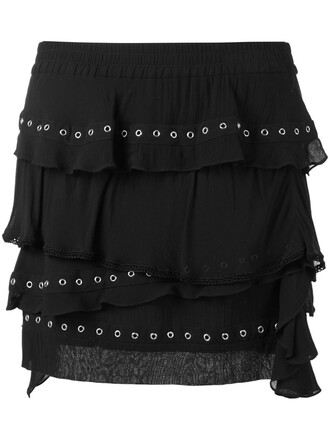 skirt ruffle women cotton black
