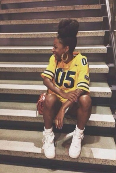 shirt yellow shirt jewels jersey shirt dress air force 1