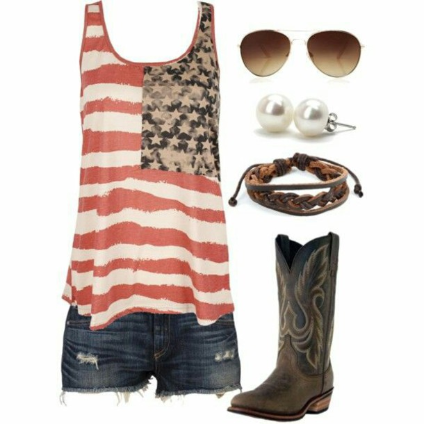 shoes cowgirl boots american flag shirt brown boots country july 4th tank top red white blue